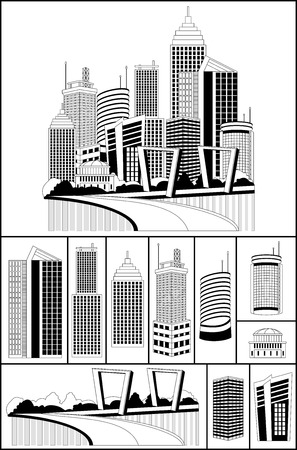 tall buildings: Modern metropolis city skyscrapers skyline, illustration with an individual buildings