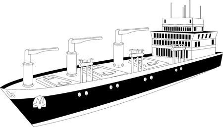 bulk carrier: Illustration of a cargo ship of dry bulk carrier with  three cranes Illustration