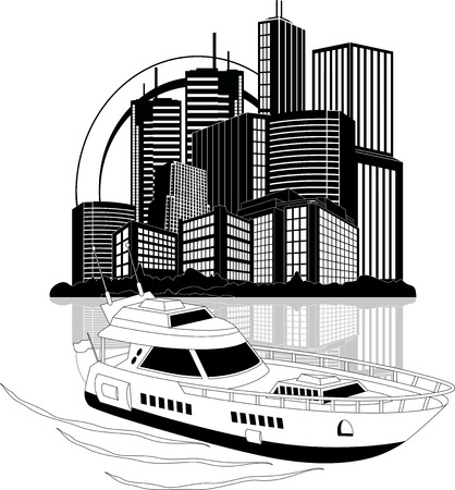 speedboat: Illustration of a luxury private boat on skyscrapers background Illustration