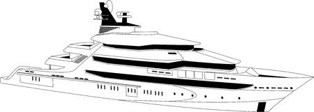 cruiser: Illustration of a luxury yacht over white background
