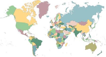 Gedetailleerde kaart van de wereld onderverdeeld in landen Stock Illustratie