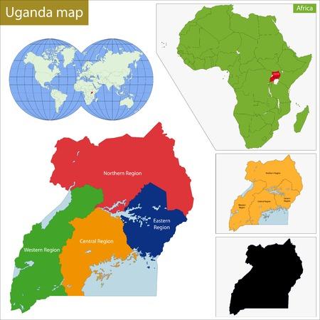 landlocked country: Divisi�n administrativa de la Rep�blica de Uganda