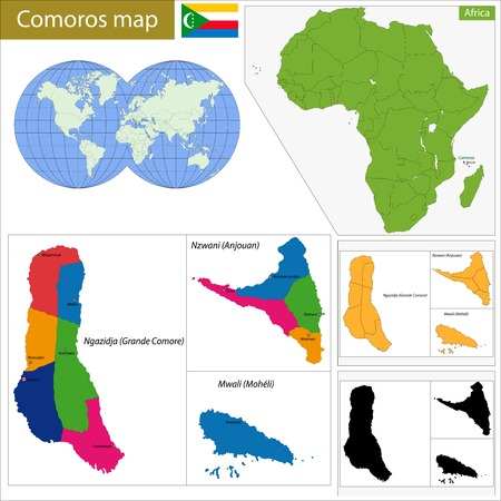 comoros: Administrative division of the Union of the Comoros Illustration