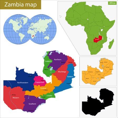 landlocked country: Divisi�n administrativa de la Rep�blica de Zambia