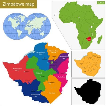 landlocked country: Divisi�n administrativa de la Rep�blica de Zimbabwe