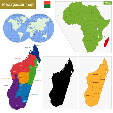 geographically: Administrative division of the Republic of Madagascar Illustration