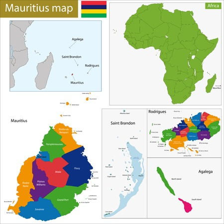 geographically: Administrative division of the Republic of Mauritius Illustration