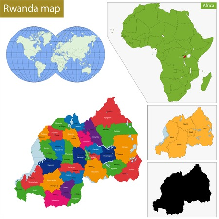 geographically: Administrative division of the Republic of Rwanda Illustration