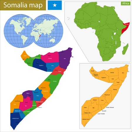 geographically: Administrative division of the Federal Republic of Somalia Illustration