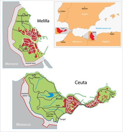 geographically: Illustration of a autonomous city of Ceuta and Melilla Illustration