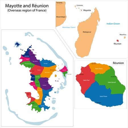 overseas: Mapa de la Reuni�n y Mayotte, regi�n de ultramar de Francia