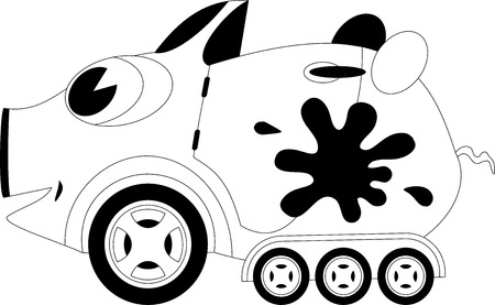 pigling: Black and white illustration of a cartoon car