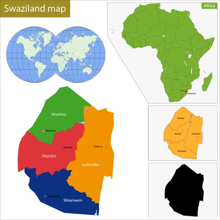 geographically: Administrative division of the Federal Kingdom of Swaziland Illustration