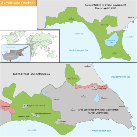 overseas: Zonas de soberan�a de Akrotiri y Dhekelia, es un territorio brit�nico de ultramar en la isla de Chipre Vectores