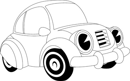 race car symbol: Black and white illustration of a cartoon car