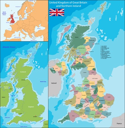 ireland map: Map of the United Kingdom of Great Britain and Northern Ireland Illustration
