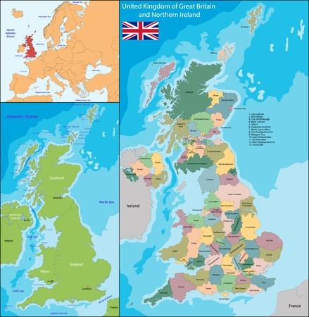mapa politico: Mapa del Reino Unido de Gran Bretaña e Irlanda del Norte Vectores