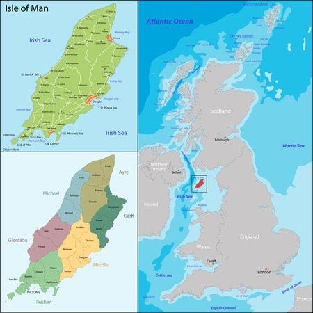 geographically: Map of administrative divisions the Isle of Man