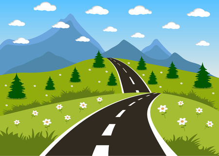 Illustration of a cartoon summer or spring road to mountains landscape