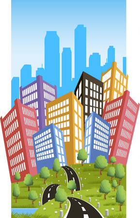 city background: Cartoon illustration of a road to a city