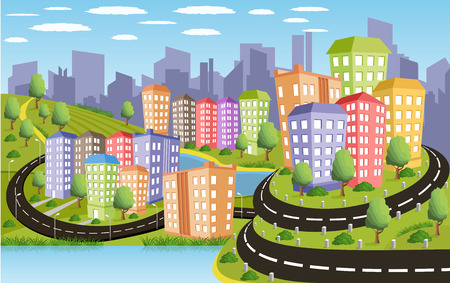 river cartoon: Cartoon illustration of a road to a city