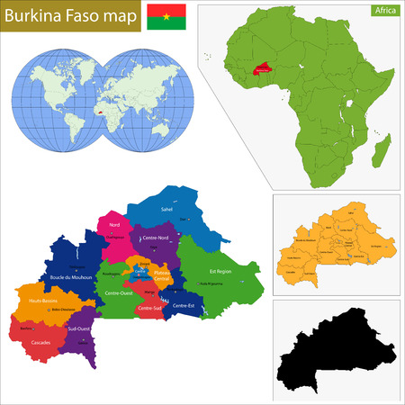 landlocked country: Divisi�n administrativa de Burkina Faso, pa�s sin salida al mar en el �frica occidental