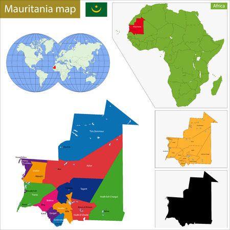 geographically: Administrative division of the Islamic Republic of Mauritania