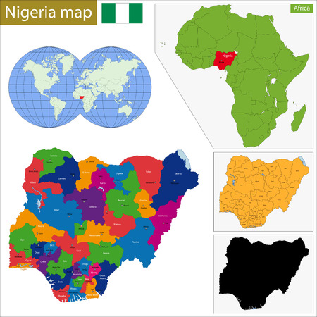 geographically: Administrative division of the Federal Republic of Nigeria Illustration