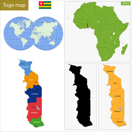 geographically: Administrative division of the Togolese Republic, colorful map Illustration