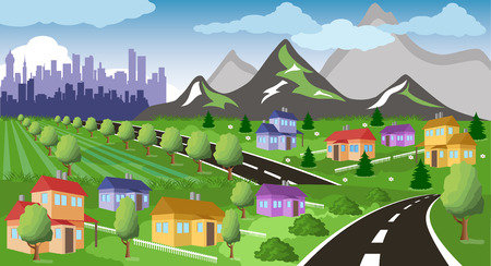 suburb: Cartoon illustration of a city suburb with road to downtown