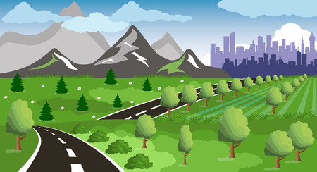 green hills: Cartoon illustration of a road to a city