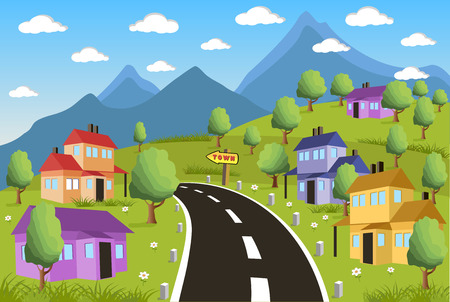 small country town: Ilustration of a little town in a calm and tranquil environment