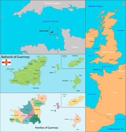 geographically: Map of administrative divisions the Bailiwick of Guernsey