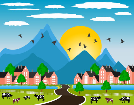 Ilustration of a little town in a calm and tranquil environment in mountain