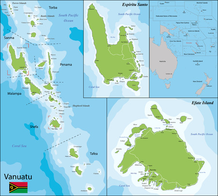 vanuatu: Map of Vanuatu drawn with high detail and accuracy Illustration