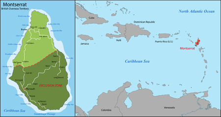 geographically: Montserrat is an island which is a British Overseas Territory in the Caribbean