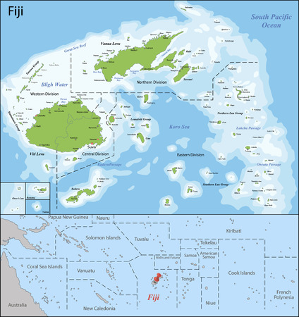 geographically: Fiji is an island country in Melanesia in the South Pacific Ocean