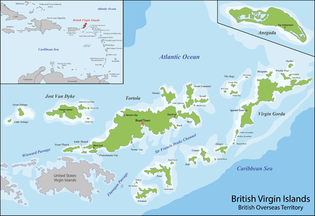 The Virgin Islands commonly referred to as the British Virgin Islands, is a British overseas territory located in the Caribbean to the east of Puerto Rico 일러스트
