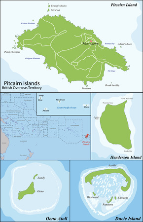 geographically: The Pitcairn Group of Islands are a group of four volcanic islands in the southern Pacific Ocean that form the last British Overseas Territory in the Pacific.