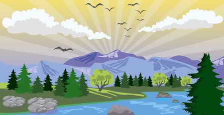 Illustration of beauty landscape with sunrise under lake and mountain Иллюстрация