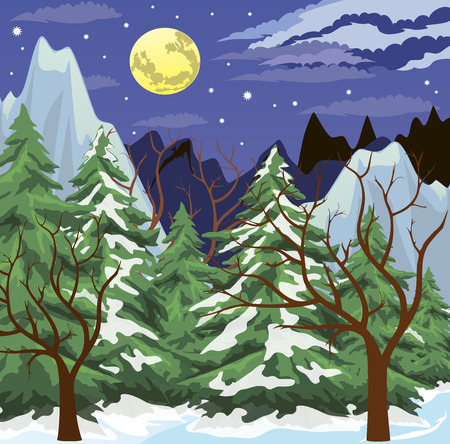 snowy mountain: Night winter scene with the moon low in the sky.