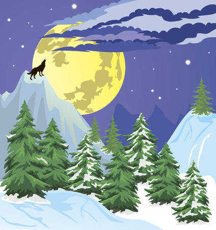 Night winter scene with the moon low in the sky. Vector