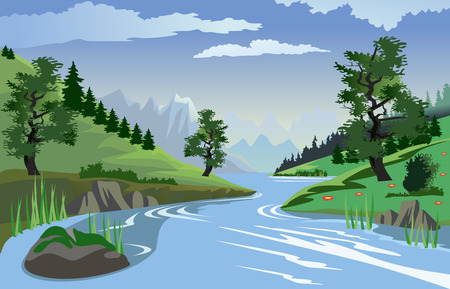 flowing river: A beautiful view of a quiet river flowing through a valley