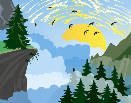 Forest background with fir trees and mountains, and morning sun with rays Vector