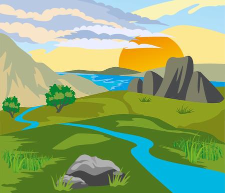 석양 산으로 둘러싸인 강 계곡