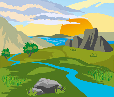 River valley surrounded by mountains at sunset Vector