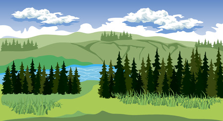 rural landscape: Illustration of beauty landscape with forest and mountain
