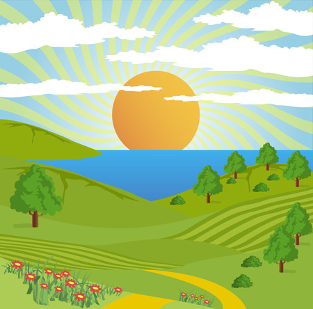 mountain landscape: Abstract illustration of a nature landscape with lake, sun, and tree. Illustration