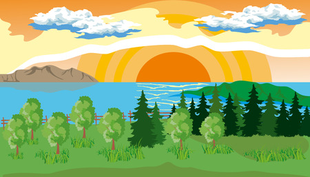 lake shore: Landscape with pine, fir, grass on the shore of a lake under a blue cloudy sky with sun.
