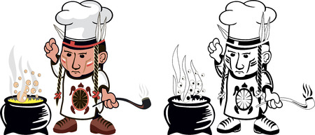 redskin: Cartoon drawing of an american indian cook